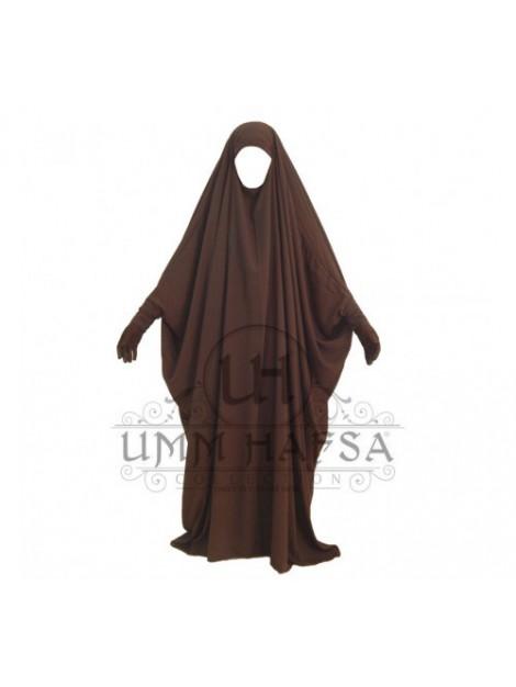 Jilbab/Jilbeb Saoudien marron À Clips Umm Hafsa