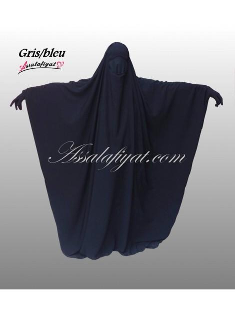 Jilbab saoudien assalafiyat une pièce gris