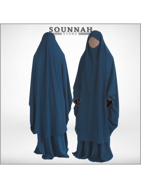 Jilbab/Jilbeb 2 pièces jupe bleu canard Al Manassik