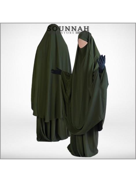 Jilbab/Jilbeb 2 pièces jupe vert militaire Al Manassik