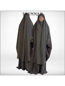 Jilbab/Jilbeb 2 pièces jupe taupe Al Manassik