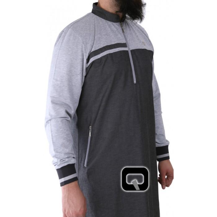 qamis long qaba 39 il classique gris fonc et gris clair sounnah store. Black Bedroom Furniture Sets. Home Design Ideas