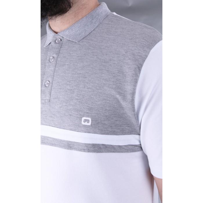 Polo qaba il blanc et gris - Sounnah Store 86ff4f593e9c