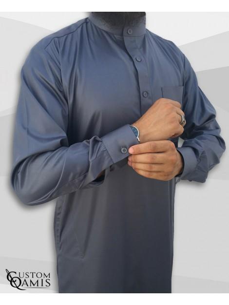 Custom qamis saoudien classique gris