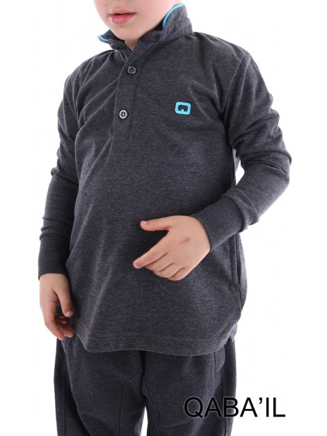 Polo qaba'il enfant gris anthracite