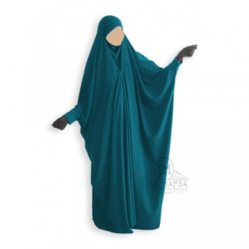 Jilbab/Jilbeb Saoudien vert canard à Clips Umm Hafsa