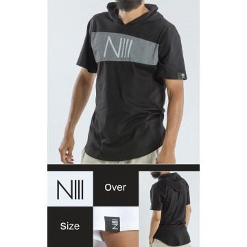 Tee shirt N3 capuche noir