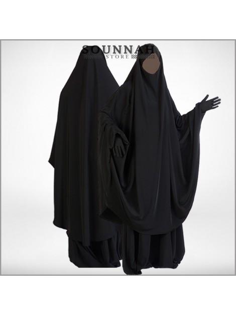 Jilbab/Jilbeb 2 pièces jupe noir Al Manassik