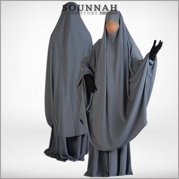 Jilbab/Jilbeb 2 pièces jupe gris galet Al Manassik