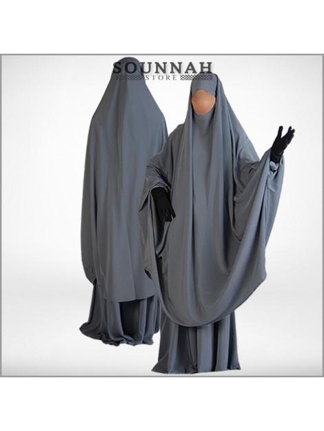 Jilbab/Jilbeb 2 pièces jupe gris Al Manassik