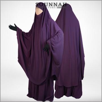 Jilbab/Jilbeb 2 pièces jupe prune - Al Manassik