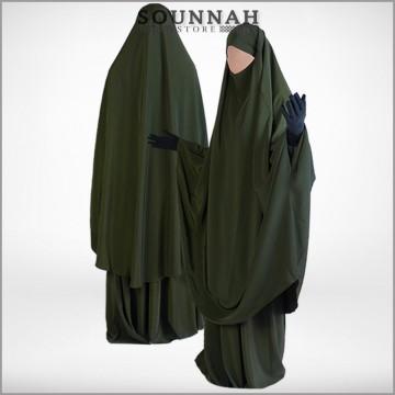 Jilbab/Jilbeb 2 pièces jupe kaki Al Manassik