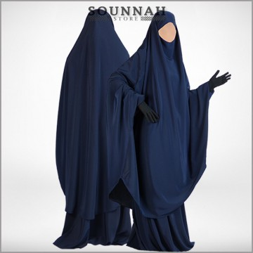Jilbab/Jilbeb 2 pièces sarouel bleu nuit Al Manassik